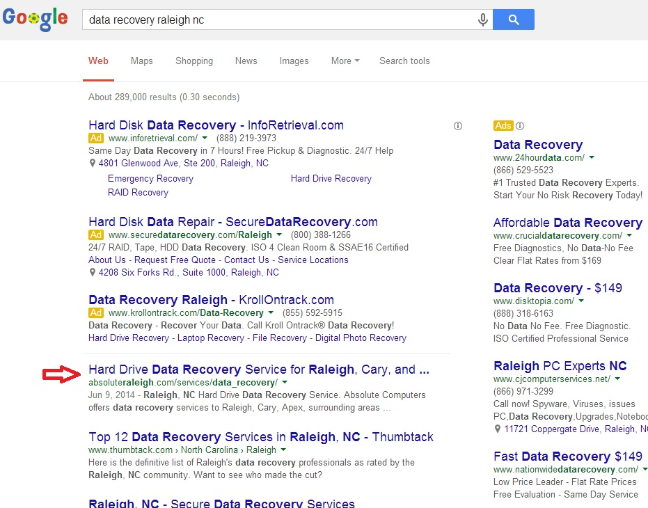 SEO serp result image