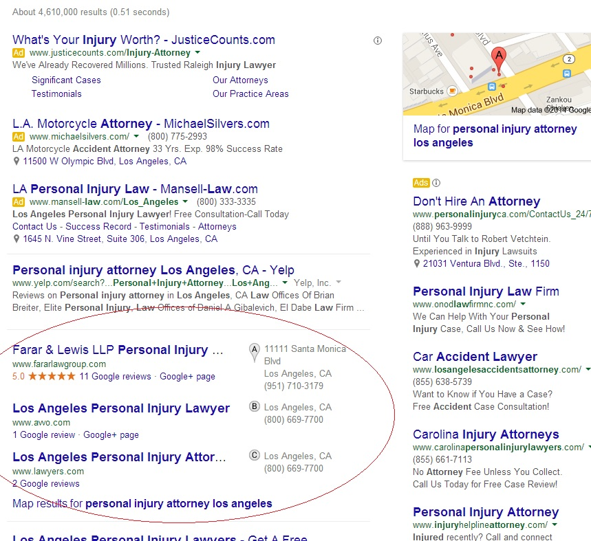 A 3 pack of local results. It only includes 1 local business. While not always the case, in this case the organic search ranking seems to have influenced the local results.