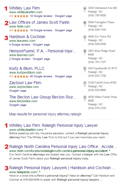Google Local for Personal Injury