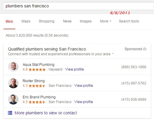 paid results of plumbers in san francisco