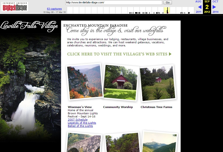 LinvilleFallsVillage.com in 2012.