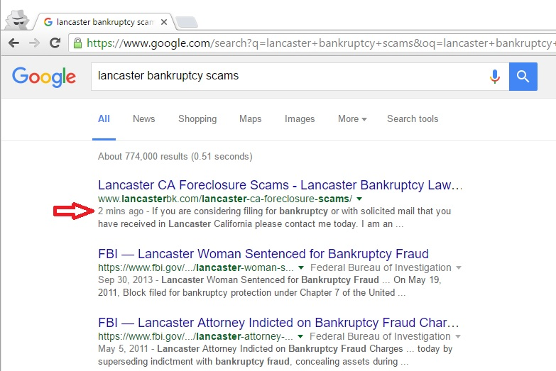 Screenshot of an attorney website ranking in under 2 minutes after launch.