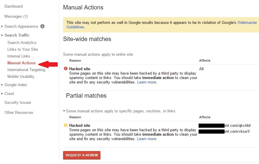 A manual action placed on a hacked wordpress website.