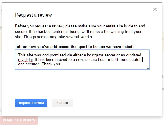Submitting a site for review in Google Search Console.