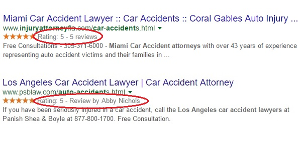 Screenshot of the two different types of review rich snippets attorneys can receive in Google search results as of 2016.