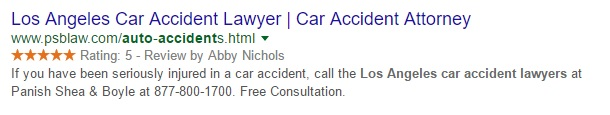 Example of a rich snippet in search results.