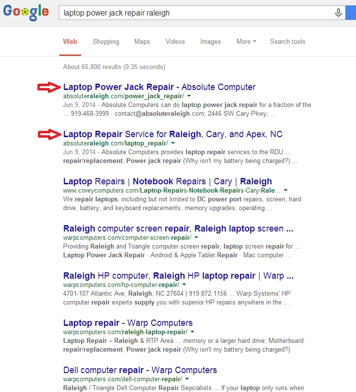 more SERP screenshots