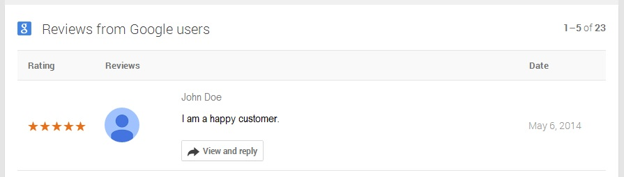 reviews by google users