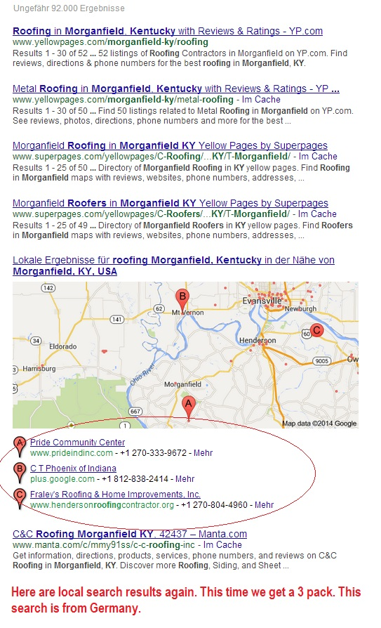 """This is what search results for """"roofing Morganfield KY"""" look like from a machine in Germany (me using a German proxy server 8/1/14)."""