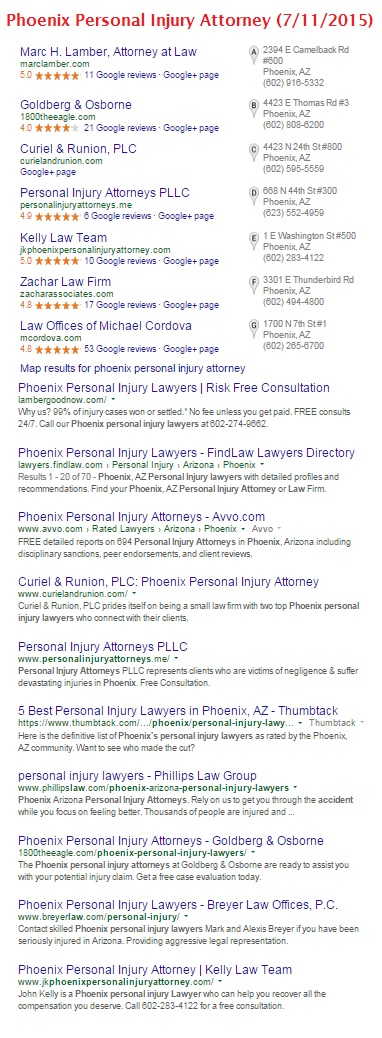 Phoenix personal injury search results - July 2015