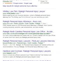 SEO Analysis of Raleigh NC Personal Injury Attorneys – July 2015