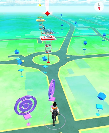 Seen in the image - pokestops and a gym in the roundabout