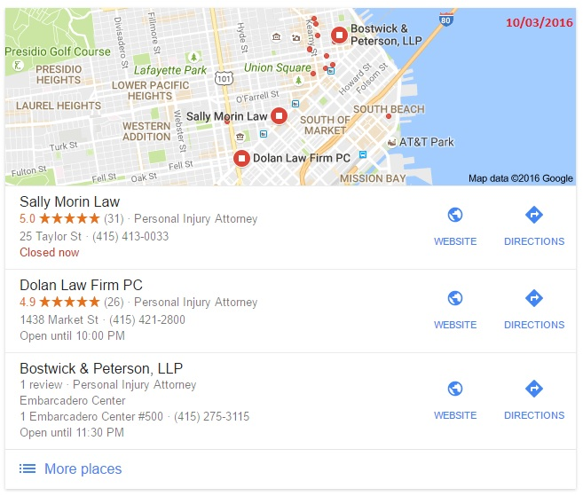 """San Francisco Personal Injury Lawyer"" - 10/03/2016"