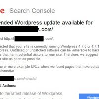 Google Search Console Team: Recommended Wordpress Update Available Email Notifications