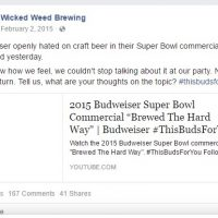 Wicked Weed Deletes FaceBook Post about Budweiser Hating on Craft Beer