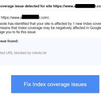 """New Index coverage issue detected for site"" Error Message in Google Search Console"