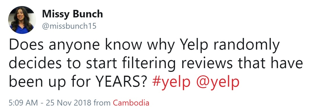 Yelp's November 2018 Algorithm Change and Sudden Loss of