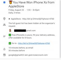 """You Have Won iPhone Xs from AppleStore"" Google Calendar [Scam]"