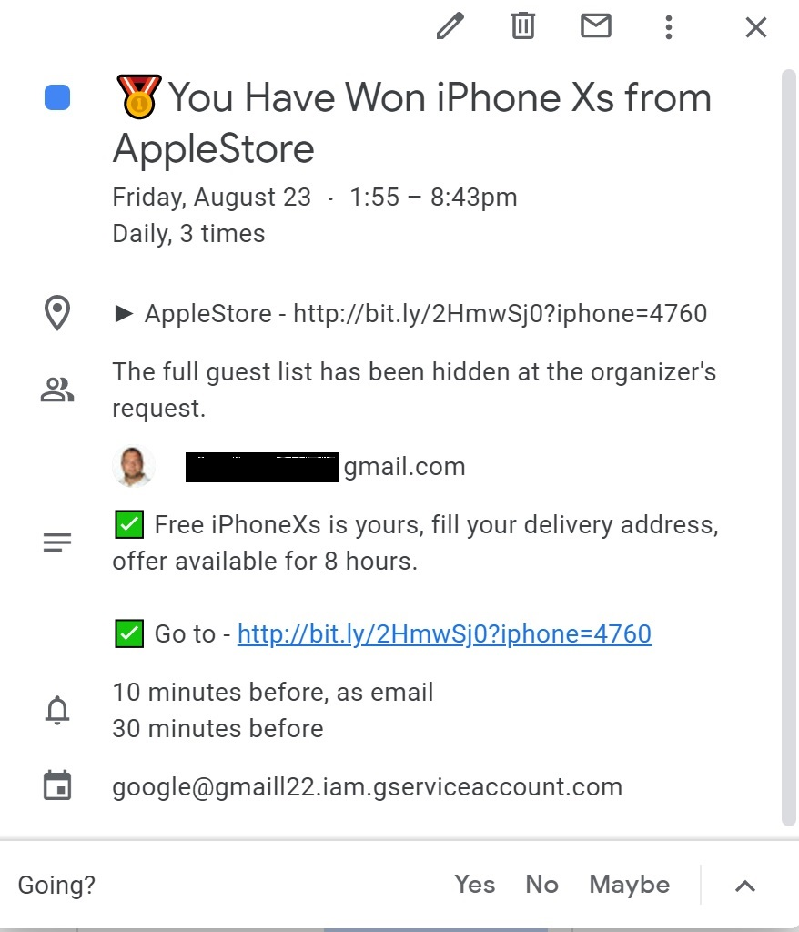 "Spam email: ""You Have Won iPhone Xs from AppleStore"""