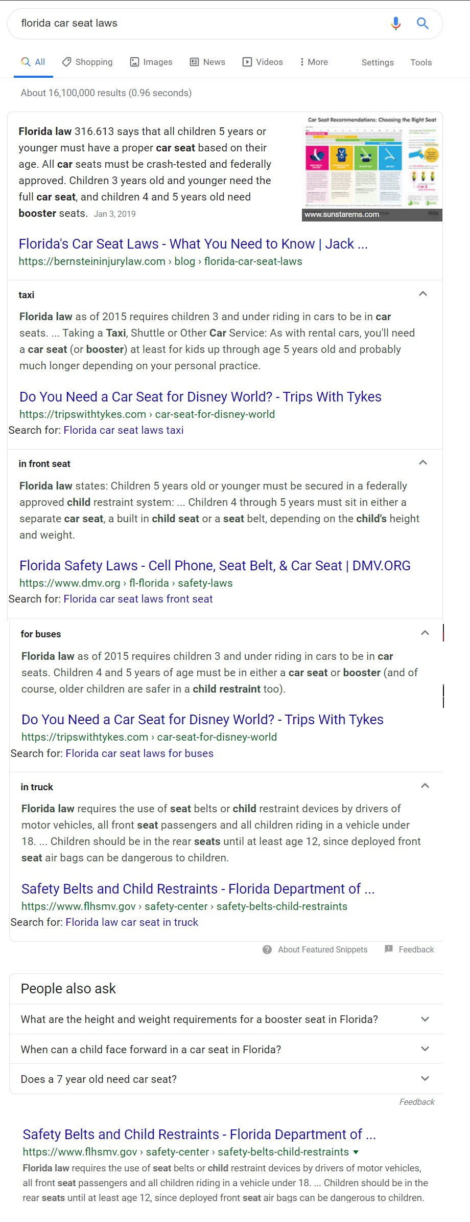 screenshot of an expanded multi featured snippet