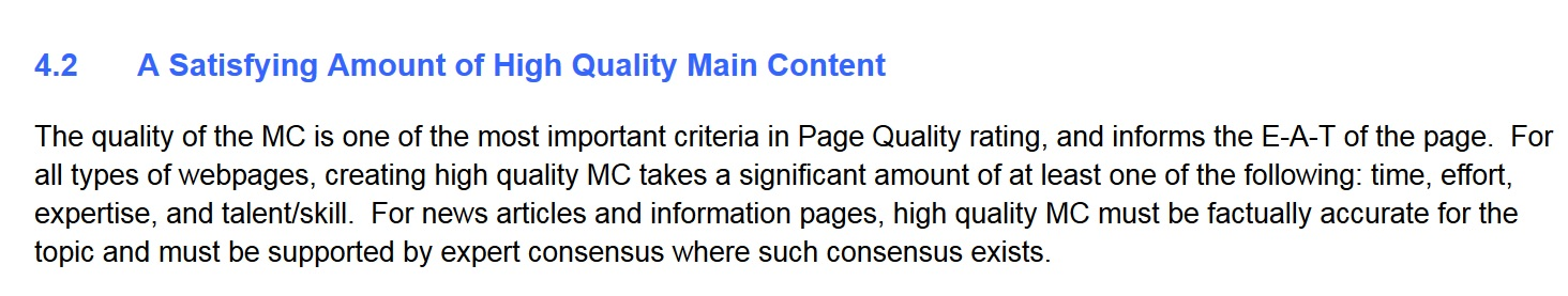 screenshot of Google's quality rater guidelines