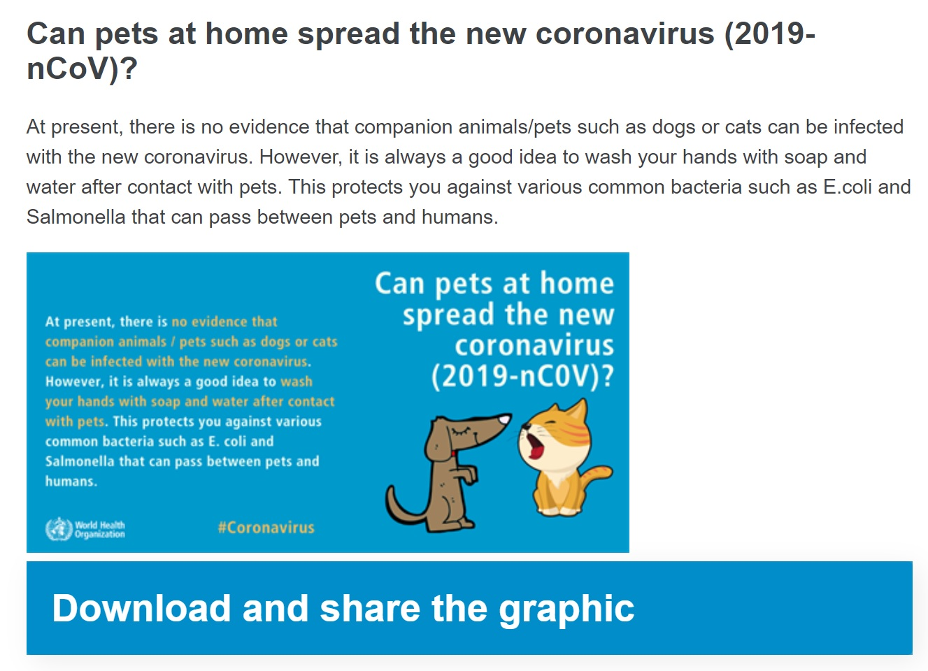 Screenshot of W.H.O.'s page about pets and coronavirus